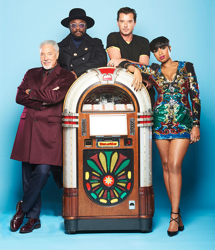 The judges from BBC television show The Voice posing with a juke box supplied by Betterdaze
